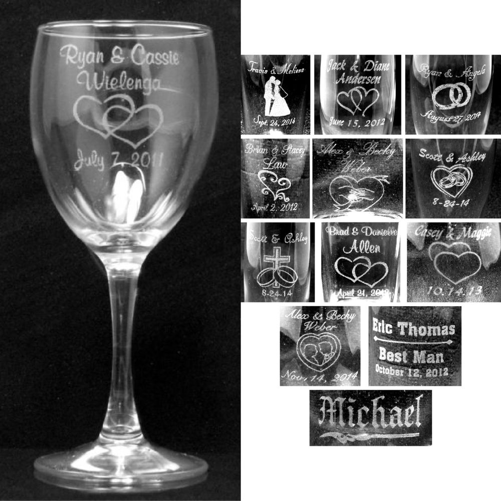 fein engraved wine glasses for wedding favors fotos brautkleider