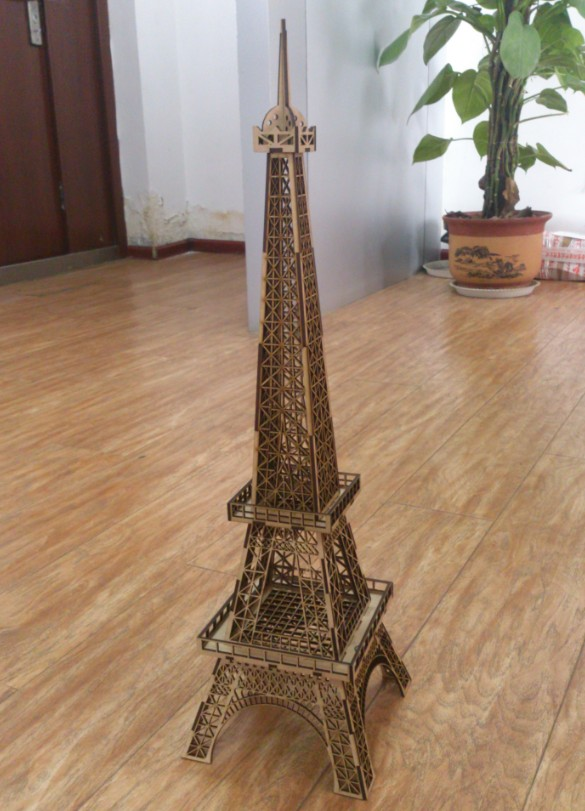 wood Eiffel Tower cutting