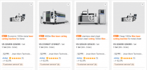 Figure 2 Price difference between 1000W fiber laser cutting machine and 6000W fiber laser cutting machine on alibaba